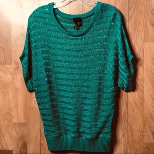 Small Green with silver strands dolman sweater